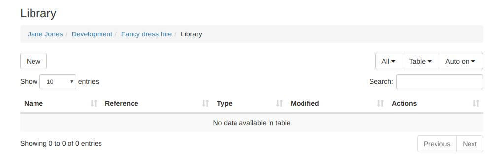 Newly created library folder